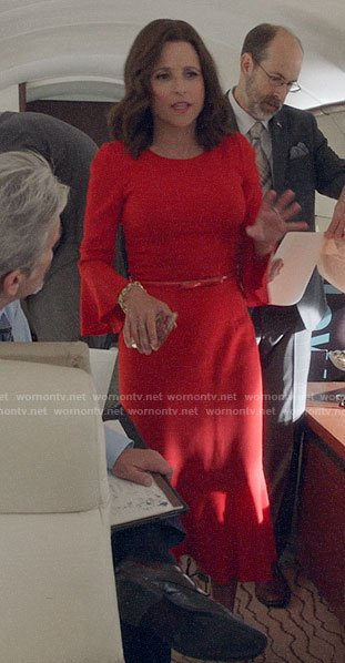 Selina's red bell sleeve midi dress on Veep
