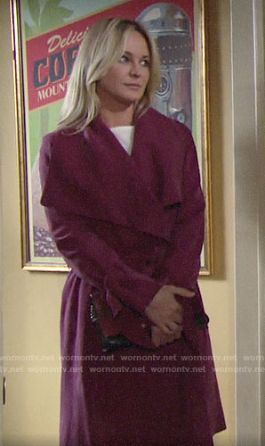 Sharon's pink wrap coat on The Young and the Restless