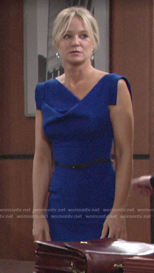 Sharon's blue draped neck dress on The Young and the Restless