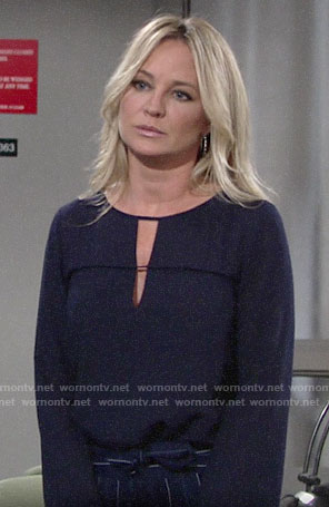 Sharon's navy keyhole blouse and striped trousers on The Young and the Restless