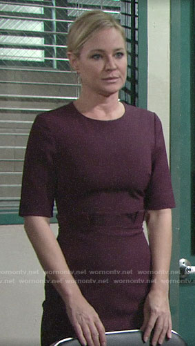 Sharon's purple pleated waist dress on The Young and the Restless