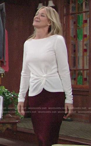 Sharon's white twist hem top on The Young and the Restless