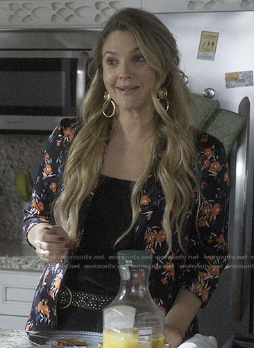 Sheila's black floral shirt and knocker earrings on Santa Clarita Diet