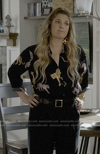Sheila's tiger print blouse on Santa Clarita Diet