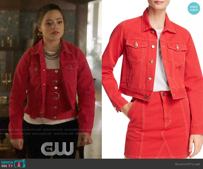 SJYP Denim Jacket worn by Maggie Vera (Sarah Jeffery) on Charmed
