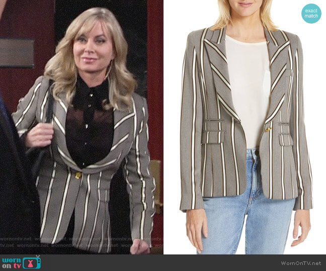 Smythe eak Lapel Blazer in Grey Ribbon Stripe worn by Ashley Abbott (Eileen Davidson) on The Young & the Restless