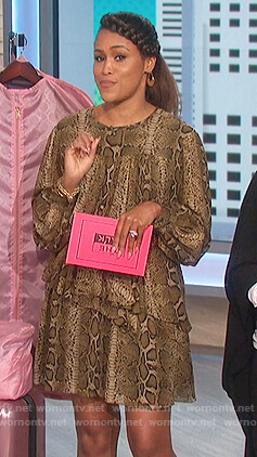 Eve's snake print mini dress on The Talk