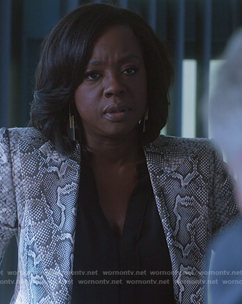 Annalise's snake skin print blazer on How to Get Away with Murder