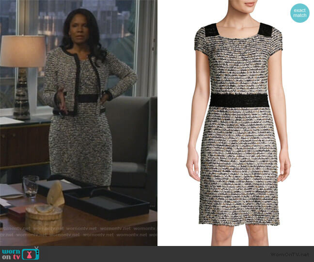 Inlaid Knit Cap-Sleeve A-line Dress by St. John Collection worn by Liz Reddick-Lawrence (Audra McDonald) on The Good Fight