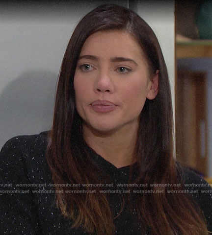 Steffy's black speckled hoodie on The Bold and the Beautiful