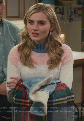 Taylor's striped knit sweater on American Housewife