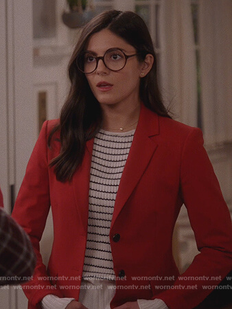 Lisa's red blazer and striped sweater on Splitting Up Together