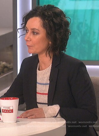 Sara's white striped sweater on The Talk