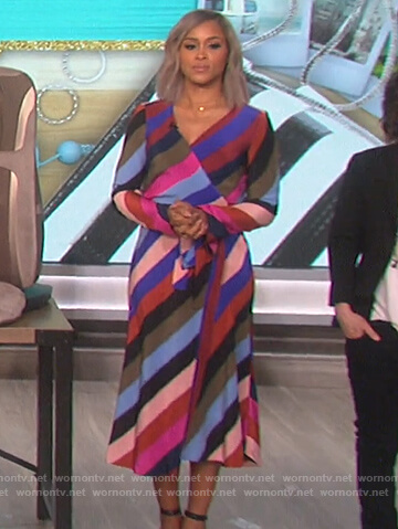 Eve's striped wrap dress on The Talk