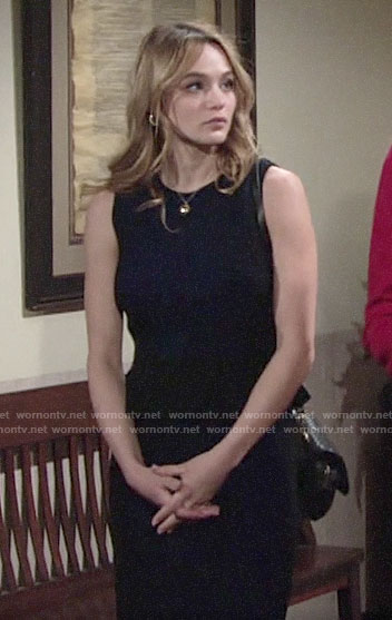Summer's blue and black peplum dress on The Young and the Restless