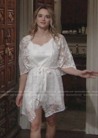 Summer's bridal robe and chemise on The Young and the Restless