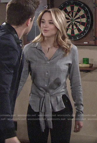 Summer's grey plaid tie-waist shirt on The Young and the Restless