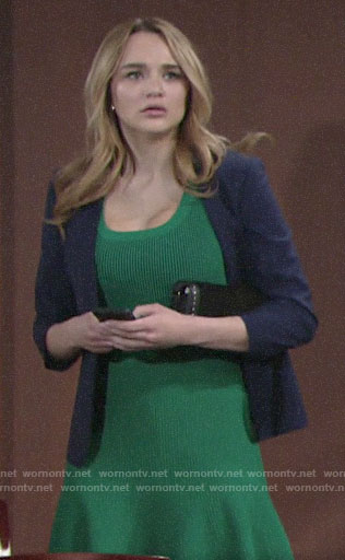 Summer's green ribbed dress and navy blazer on The Young and the Restless