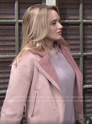 Summer's pink suede and fur jacket on The Young and the Restless
