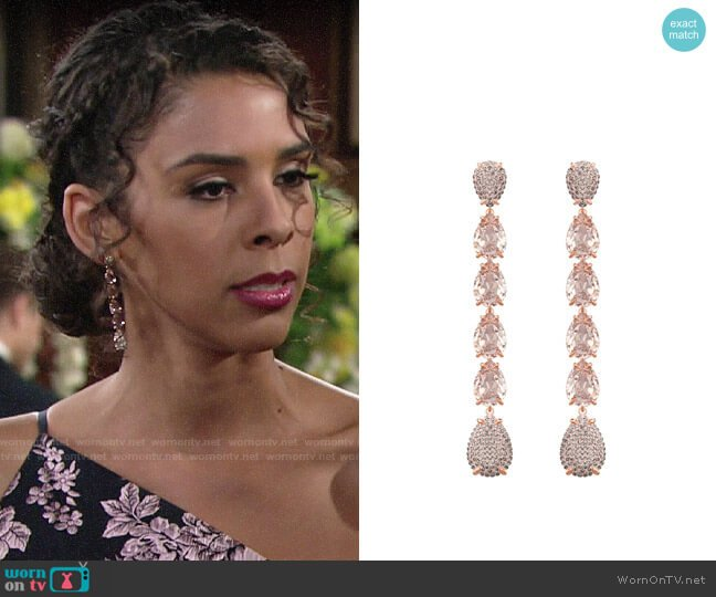 Swarovski Mix Pierced Earrings in Pink Rose Gold Plating worn by Kerry Johnson (Alice Hunter) on The Young & the Restless
