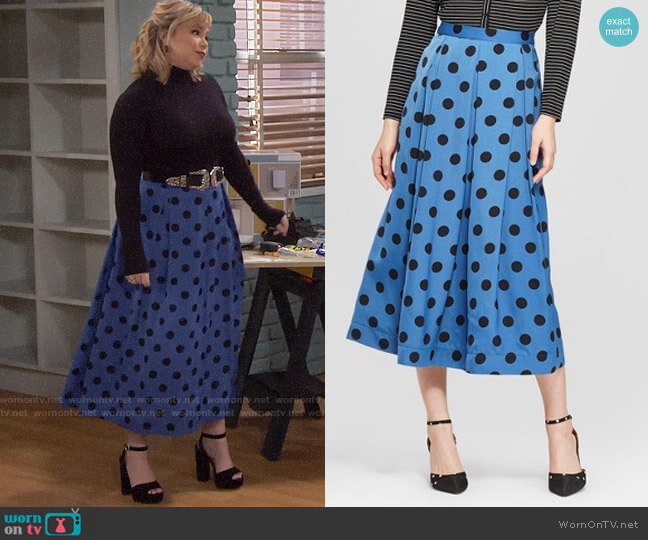 Target Who What Wear Polka Dot Birdcage Midi Skirt worn by Kristin Baxter (Amanda Fuller) on Last Man Standing