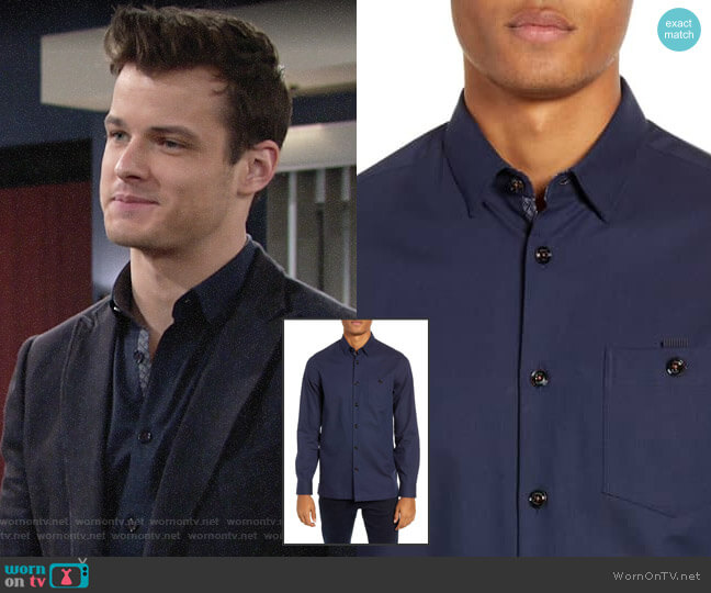 Ted Baker Slim Fit Oxford Sport Shirt worn by Kyle Abbott (Michael Mealor) on The Young & the Restless