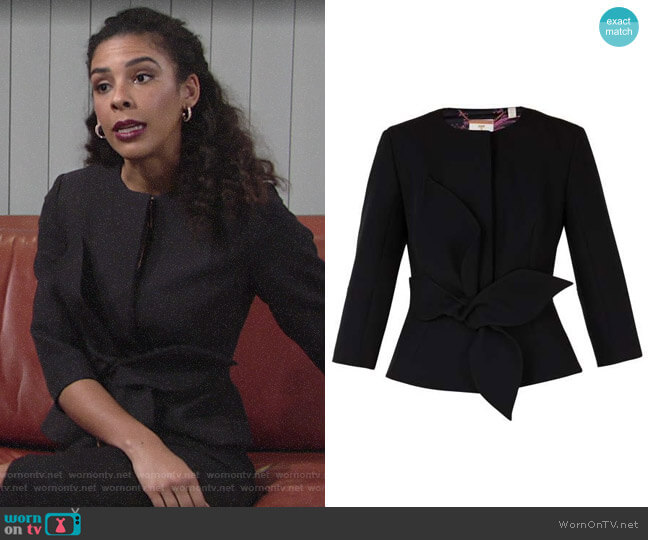 Ted Baker Ppolly Jacket worn by Kerry Johnson (Alice Hunter) on The Young & the Restless