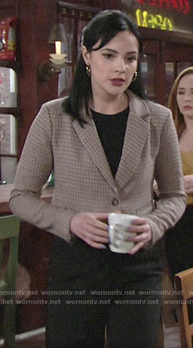 Tessa's cropped houndstooth jacket on The Young and the Restless