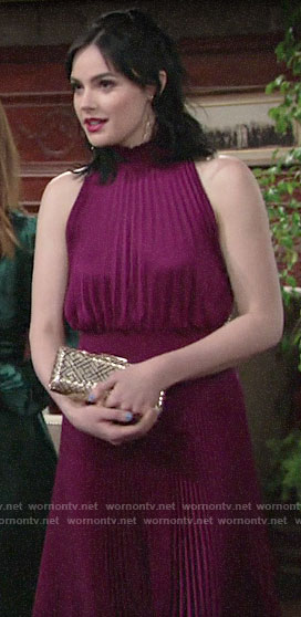 Tessa's magenta pleated dress at Summer's wedding on The Young and the Restless