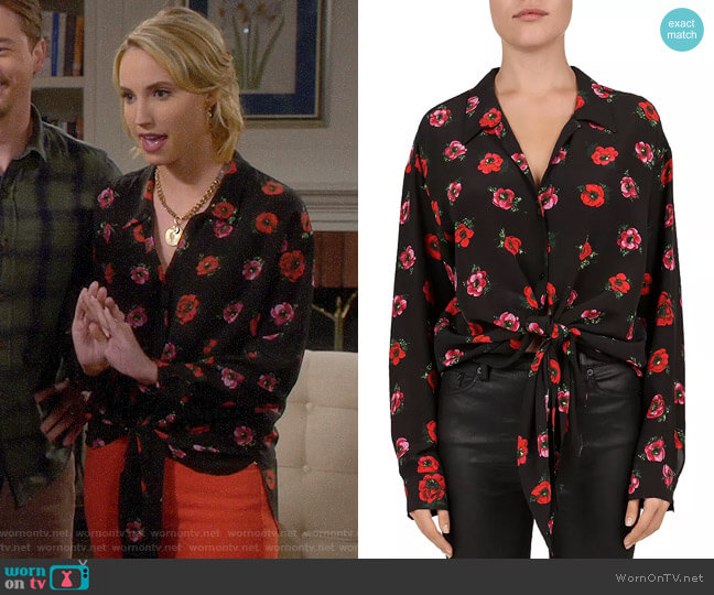 The Kooples Floral Tie-Front Silk Blouse worn by Mandy Baxter (Molly McCook) on Last Man Standing