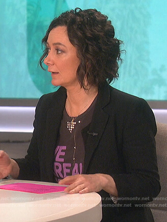 Sara's black We Are Broken studded tee on The Talk
