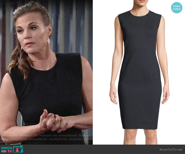 Theory Pinstripe Knit Power Dress worn by Phyllis Newman (Gina Tognoni) on The Young & the Restless