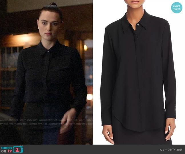 Theory Sunaya Stretch-Silk Shirt worn by Lena Luthor (Katie McGrath) on Supergirl