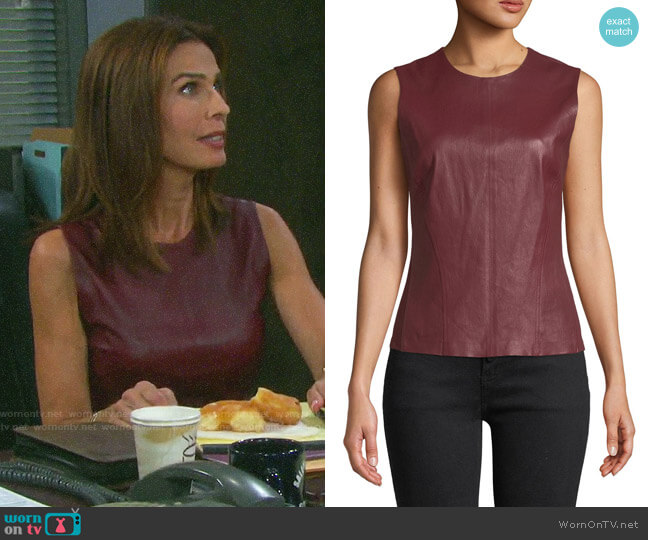 Theory Bristol Leather Shell worn by Hope Williams (Kristian Alfonso) on Days of our Lives