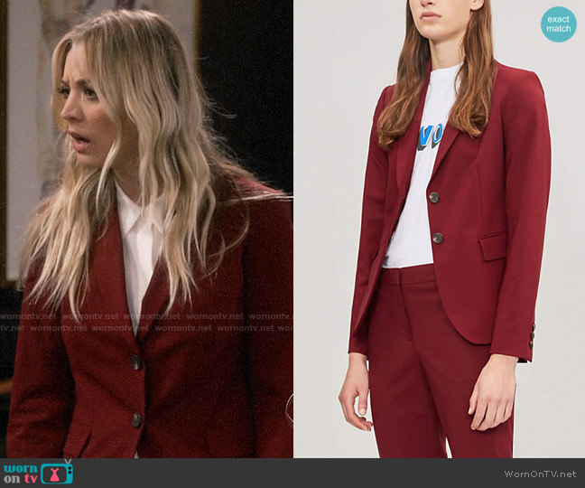 Theory Carissa Blazer worn by Penny Hofstadter (Kaley Cuoco) on The Big Bang Theory