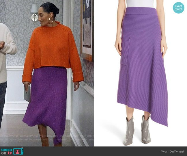 Tibi Ribbed Merino Wool Asymmetrical Skirt worn by Rainbow Johnson (Tracee Ellis Ross) on Blackish