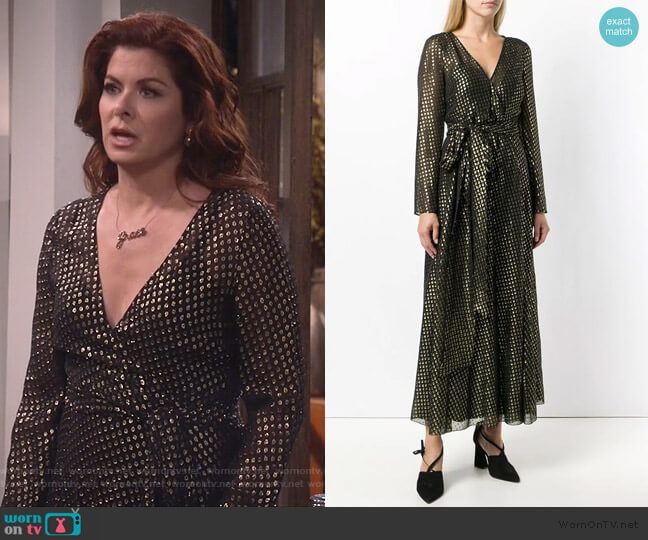 Embroidered Lame Long Dress by RED Valentino worn by Grace Adler (Debra Messing) on Will & Grace