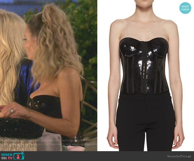 Strapless Liquid Sequin Bustier Top by Tom Ford worn by Dorit Kemsley  on The Real Housewives of Beverly Hills