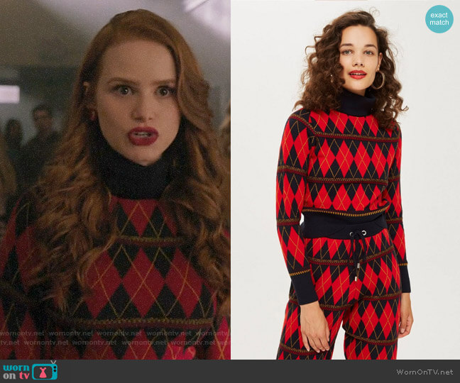 Topshop Argyle Roll Neck Top worn by Cheryl Blossom (Madelaine Petsch) on Riverdale