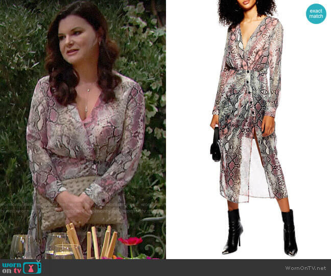 Topshop Snake Print Chiffon Midi Dress worn by Katie Logan (Heather Tom) on The Bold & the Beautiful
