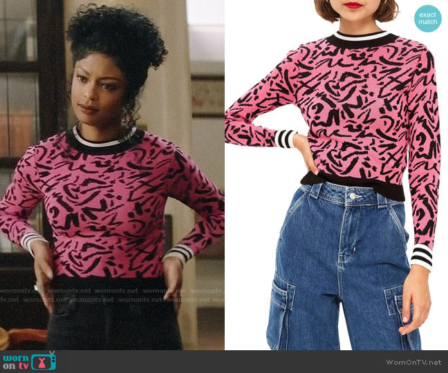 Topshop Graffiti Jacquard Sweater worn by Ali Finer (Javicia Leslie) on God Friended Me