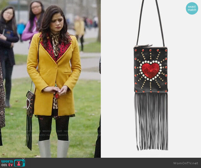 Topshop Leather Loveheart Cross Body Bag worn by Mel Vera (Melonie Diaz) on Charmed