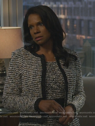 Liz's tweed jacket and sheath dress on The Good Fight