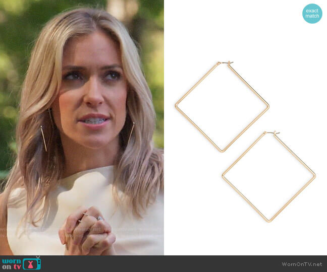 Uncommon James Girl Boss Square Hoop Earrings worn by Kristin Cavallari  on Very Cavallari