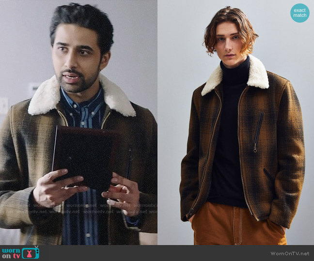 Schott Wool Plaid Car Coat worn by Rakesh (Suraj Sharma) on God Friended Me