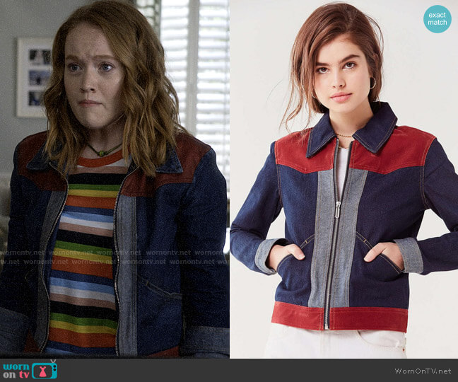 UO Western Colorblock Gas Jacket worn by Abby Hammond (Liv Hewson) on Santa Clarita Diet