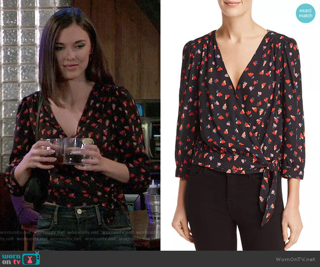 Velvet by Graham & Spencer Rayla Tulip Print Wrap Top worn by Willow Tait (Katelyn MacMullen) on General Hospital