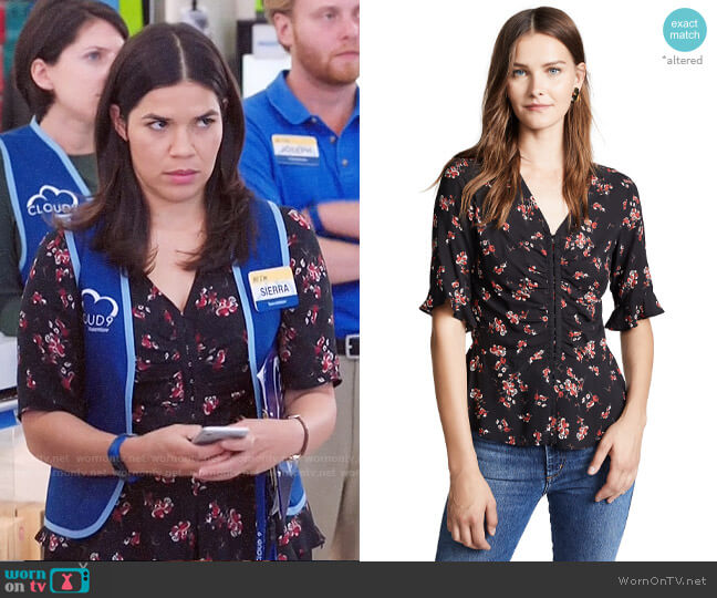 Velvet Micco Blouse worn by Amy (America Ferrera) on Superstore