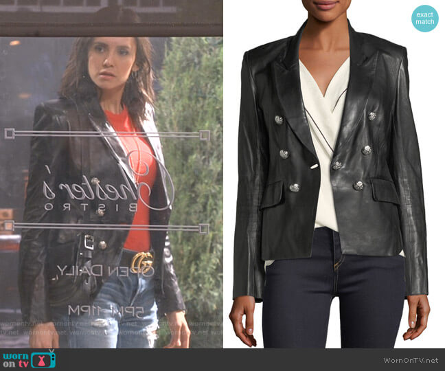 Cooke Leather Jacket by Veronica Beard worn by Clem (Nina Dobrev) on Fam