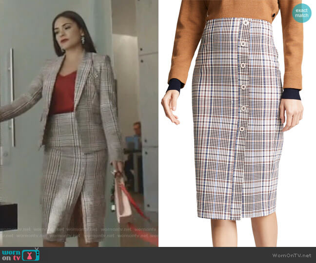 Melor Skirt by Veronica Beard worn by Cristal Jennings (Daniella Alonso) on Dynasty